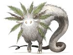 absurdres animal_ears animal_focus chimera colored_sclera creature goat_ears highres horns kan_(aaaaari35) leaf no_humans no_mouth no_nose original red_eyes shadow simple_background snake_tail tail white_background yellow_sclera