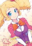 1girl aikatsu! aikatsu!_(series) black_vest blonde_hair blue_eyes bow bowtie breast_squeeze breasts capelet checkered checkered_capelet checkered_skirt clock close-up closed_mouth collared_shirt dated dutch_angle earrings eyebrows_visible_through_hair eyewear_background frilled_capelet frills glasses gradient gradient_background hat jewelry large_breasts long_sleeves looking_at_viewer mini_hat mizuki_maya pleated_skirt red_capelet red_headwear red_skirt saegusa_kii shirt signature skirt smile solo twintails upper_body vest wavy_hair white_shirt wing_collar yellow_background
