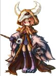 1girl bangs black_legwear brown_cloak cloak closed_mouth commentary_request eyebrows_visible_through_hair full_body holding holding_staff hood hood_up hooded_cloak horns looking_at_viewer necromancer_(ragnarok_online) norapeko orange_hair personification ragnarok_online red_eyes school_swimsuit short_hair simple_background skull solo staff swimsuit thigh-highs white_background