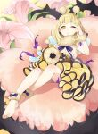 1girl antennae bangs barefoot bee blonde_hair blush bow braid briar_rose_(sinoalice) bug doll flower fur_collar fur_trim hairband highres insect one_eye_closed open_mouth pink_flower short_hair sinoalice solo thorns tired wings yellow_eyes yuna726