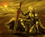 1boy armor armored_boots bangs blood blood_on_face boots breastplate brown_cape cape clenched_teeth commentary_request cross crown full_body gauntlets hair_between_eyes head_wings holding holding_sword holding_weapon leg_armor looking_afar lord_knight_(ragnarok_online) male_focus misuguu one_knee pauldrons planted_sword planted_weapon ragnarok_online short_hair shoulder_armor solo sunset sword tabard teeth weapon white_hair white_wings wings