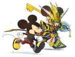 2boys animal_ears black_eyes black_jacket chibi clenched_hands colored_sclera crossover disney gloves green_sclera gundam holding holding_weapon jacket keyblade kingdom_hearts mickey_mouse mouse mouse_ears multiple_boys open_mouth red_shorts running science_fiction sd_gundam sd_gundam_world_heroes shorts v-fin weapon white_background white_gloves wukong_impulse_gundam xzeit