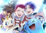 gen_1_pokemon gen_2_pokemon gen_6_pokemon gourgeist happy highres inkay james_(pokemon) jessie_(pokemon) meowth pokemon pokemon_(anime) pokemon_(creature) pokemon_(game) pokemon_xy smile wobbuffet znbi_ovo
