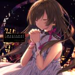 1girl album_cover bangs bead_bracelet beads blurry blurry_background blush bracelet brown_hair building closed_eyes closed_mouth commentary_request cover crescent crescent_earrings depth_of_field dress earrings english_text eyebrows_visible_through_hair eyes_visible_through_hair glint hair_over_one_eye hands_clasped hands_up highres jewelry kayase long_hair night night_sky original outdoors own_hands_together single_wrist_cuff sky sleeveless sleeveless_dress smile solo very_long_hair white_dress