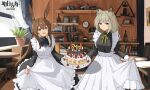 2girls :d absurdres alternate_costume amiya_(arknights) animal_ears apron arknights ascot bangs black_dress blue_eyes blue_neckwear book brown_hair cake chair choker commentary_request copyright_name cowboy_shot dress enmaided eyebrows_visible_through_hair food green_eyes green_neckwear green_ribbon hair_between_eyes highres holding holding_food indoors kal'tsit_(arknights) long_hair long_sleeves looking_at_viewer lynx_ears maid maid_apron multiple_girls neck_ribbon open_mouth petticoat picture_frame plant potted_plant rabbit_ears ribbon silver_hair smile standing table white_apron yikiraki