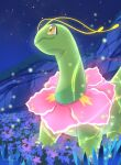 claws closed_mouth commentary_request flower gen_2_pokemon glowing highres looking_up meganium new_pokemon_snap night no_humans nullma outdoors pokemon pokemon_(creature) pokemon_(game) signature sky solo standing yellow_eyes