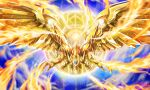 claws commentary_request commission duel_monster energy fire glowing glowing_eyes highres light_trail looking_at_viewer no_humans red_eyes sample shiny solo sore_(whirlwind) the_winged_dragon_of_ra watermark yu-gi-oh!