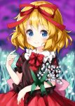 1girl bangs black_shirt blonde_hair blue_eyes blurry blurry_background bow bowtie closed_mouth cowboy_shot eyebrows_visible_through_hair field flower flower_field hair_ribbon highres holding holding_flower lily_of_the_valley looking_at_viewer medicine_melancholy outdoors red_bow red_neckwear red_ribbon red_skirt ribbon ruu_(tksymkw) shirt short_hair short_sleeves skirt smile solo standing touhou