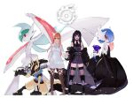 2girls arm_blade black_dress black_hair brown_hair crossover dress final_fantasy final_fantasy_xiv floette gaia_(ff14) gallade gardevoir gen_3_pokemon gen_4_pokemon gen_6_pokemon gunblade holding_hands looking_at_viewer lucario mega_gallade mega_gardevoir mega_pokemon multiple_girls over_shoulder pokemon potion_lilac red_eyes ryne simple_background standing thick_lips thigh-highs weapon weapon_over_shoulder