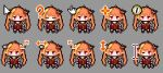 1girl ? arrow_(symbol) bangs blonde_hair chibi closed_eyes commentary_request cursor dragon_girl dragon_horns dragon_tail grey_background hololive horns jacket kiryu_coco long_hair morinaga_kokoa multicolored_hair multiple_views official_alternate_costume one_eye_closed orange_hair pixel_art pointy_ears red_jacket simple_background streaked_hair tail twintails violet_eyes virtual_youtuber
