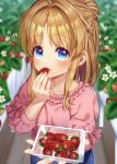 1girl bangs blonde_hair blue_eyes blurry blurry_background casual closed_mouth commentary_request daisy day eating eyebrows_visible_through_hair flower food fruit hair_intakes highres incoming_food long_hair looking_at_viewer moriya_suwako nora_wanko outdoors parted_bangs plant solo strawberry touhou upper_body white_flower