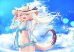 1girl absurdres ahoge animal_ears arms_up bangs bikini blush braid breasts clouds cloudy_sky commentary_request ears_through_headwear eyebrows_visible_through_hair floating_hair fox_ears fox_girl fox_tail frilled_bikini frills green_bikini green_eyes hair_between_eyes hat highres hololive jacket long_hair looking_at_viewer matudo_yuu navel open_clothes open_jacket open_mouth pentagram shirakami_fubuki sidelocks single_braid sky small_breasts solo straw_hat swimsuit tail virtual_youtuber white_hair white_jacket