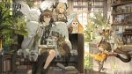 3girls :d antenna_hair arknights bird bird_on_hand black_choker black_legwear book book_on_lap brown_eyes brown_hair chinese_commentary choker commentary_request cup dress drinking glasses grey_dress head_wings highres holding holding_cup holding_teapot horns ifrit_(arknights) indoors jacket long_hair low_twintails mug multiple_girls off_shoulder open_mouth owl reed_(arknights) round_eyewear silence_(arknights) single_thighhigh sitting smile starshadowmagician tail teapot thigh-highs turtleneck_dress twintails white_jacket zettai_ryouiki