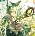 1girl animal_ear_fluff animal_ears field flower flower_field fuupu green_hair hand_in_hair leaf leaves_in_wind long_hair long_sleeves looking_at_viewer marchen_forest_~merun-chan_to_mori_no_okurimono~ mylne shirt skirt staff wind yellow_eyes