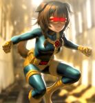 1girl animal_ears bangs blue_bodysuit bodysuit braid breasts brown_hair clenched_hands cosplay cyclops_(x-men) cyclops_(x-men)_(cosplay) dog_ears dog_girl dog_tail gloves glowing hololive infi inugami_korone marvel medium_breasts solo tail twin_braids virtual_youtuber visor x-men yellow_gloves