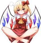 1girl ascot barefoot bat_wings blonde_hair bow crystal flandre_scarlet frilled_shirt frilled_shirt_collar frilled_skirt frilled_sleeves frills full_body highres kiui_(dagk8254) no_headwear one_side_up puffy_short_sleeves puffy_sleeves red_bow red_eyes red_skirt red_vest shirt short_hair short_sleeves side_ponytail sitting skirt skirt_set touhou vest white_shirt wings yellow_neckwear