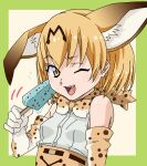 1girl amano_yoki animal_ears blonde_hair bow bowtie breasts elbow_gloves extra_ears food gloves kemono_friends one_eye_closed open_mouth popsicle print_bow print_gloves print_neckwear serval_(kemono_friends) serval_ears serval_girl serval_print sleeveless small_breasts smile solo upper_body yellow_eyes
