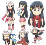 1girl bangs beanie black_hair black_legwear blush boots closed_mouth coat dawn_(pokemon) eyebrows_visible_through_hair eyelashes floating_hair floating_scarf gen_4_pokemon hair_ornament hairclip hat hatted_pokemon highres holding holding_pokemon long_hair long_sleeves looking_at_viewer looking_back multiple_views outstretched_arms pink_footwear piplup pokemon pokemon_(creature) pokemon_(game) pokemon_dppt pokemon_platinum red_coat red_scarf running scarf sidelocks simple_background smile socks solid_oval_eyes standing starter_pokemon tsubobot white_background white_headwear
