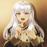 1girl bangs brown_background commentary_request cookie eyebrows_behind_hair fire_emblem fire_emblem:_three_houses food garreg_mach_monastery_uniform holding holding_cookie holding_food long_hair long_sleeves lysithea_von_ordelia open_mouth pink_eyes pochi_(furaigonn) simple_background solo twitter_username uniform white_hair