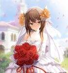 1girl alexzhang alternate_costume bouquet bridal_veil bride brown_eyes brown_hair dress elbow_gloves flat_chest flower gloves headband headgear highres holding holding_bouquet kantai_collection short_hair sleeveless sleeveless_dress smile solo taihou_(kancolle) upper_body veil wedding_dress white_dress