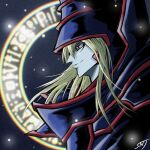 1boy armor bangs blonde_hair blurry closed_mouth colored_skin commentary dark_magician duel_monster floating_hair from_side grey_skin hat highres long_hair magic_circle male_focus red_eyes sengenjin31 signature smile solo upper_body yu-gi-oh!