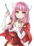 1girl bangs blunt_bangs brown_eyes capelet card commentary_request eyebrows_behind_hair fingerless_gloves fire_emblem fire_emblem_fates gloves hair_tubes holding holding_card holding_paintbrush long_hair low_twintails mitama_(fire_emblem) obi open_mouth paintbrush pink_hair red_capelet sash simple_background solo star-shaped_pupils star_(symbol) symbol-shaped_pupils ten_(tenchan_man) twintails white_background white_gloves yellow_pupils