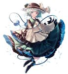 1girl absurdres bangs black_footwear black_headwear blouse blue_eyes boots bow center_frills commentary_request eyeball eyebrows_visible_through_hair flat_chest frilled_shirt_collar frills full_body green_hair green_skirt hat hat_bow heart highres komeiji_koishi light_blush light_smile looking_at_viewer parted_lips petticoat short_hair simple_background skirt sleeves_past_fingers sleeves_past_wrists solo soraki_(marisa_syou) third_eye touhou white_background wide_sleeves yellow_blouse yellow_bow