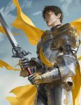 1boy absurdres armor black_hair blue_eyes cape clouds fantasy from_side hair_behind_ear highres holding holding_sword holding_weapon knight male_focus mam_ba metal_gloves nose original parted_lips realistic sky solo sword weapon yellow_cape