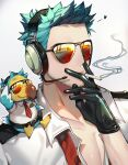 1boy animal_crossing animal_on_shoulder belt black_gloves chariko cigarette dodo_(bird) facial_hair gloves green_hair headset male_focus necktie open_clothes open_shirt personification pilot smoke smoking solo sunglasses wilbur_(animal_crossing)