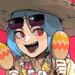 1girl :d blue_hair blush borrowed_character close-up commentary english_commentary eyewear_on_head gogalking hat holding holding_instrument instrument maracas open_mouth original red_background red_eyes same-chan_(ssangbong-llama) sharp_teeth slit_pupils smile solo straw_hat sunglasses teeth upper_body wreath