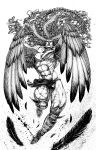 1boy abs artist_name battle_tendency boots braid claws commentary earrings feathered_wings feathers floating_hair full_body glint greyscale hair_feathers half_updo highres horns inkblot jewelry jojo_no_kimyou_na_bouken kars_(jojo) knee_boots large_pectorals large_wings leg_up loincloth long_hair male_focus maya_panda monochrome muscular muscular_male navel pectorals pelvic_curtain scarf shirtless single_braid solo spiked_boots spiked_footwear traditional_media veins very_long_hair watermark wavy_hair winged_arms wings