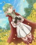 1girl ahoge black_gloves boots braid cape commentary_request dress fire_emblem fire_emblem_awakening flower gloves green_hair long_hair nah_(fire_emblem) outdoors pochi_(furaigonn) pointy_ears puffy_sleeves red_cape sky smile standing thigh-highs twin_braids twintails twitter_username violet_eyes white_dress yellow_flower