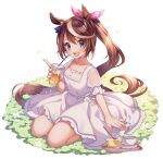 1girl :d animal_ears bangs bendy_straw blue_eyes blush brown_hair collarbone commentary_request cup dated disposable_cup dress drinking_straw eyebrows_visible_through_hair flower hair_between_eyes hair_ribbon highres holding holding_cup horse_ears kashiba_aira looking_at_viewer multicolored_hair open_mouth pink_ribbon ponytail puffy_short_sleeves puffy_sleeves ribbon saucer see-through see-through_sleeves short_sleeves simple_background smile solo streaked_hair tokai_teio_(umamusume) tray twitter_username umamusume upper_teeth v-shaped_eyebrows white_background white_dress white_flower white_hair