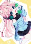 1girl :d absurdres animal_ear_fluff animal_ears black_tank_top bottle character_request copyright_request headphones highres holding holding_bottle jacket jewelry long_hair long_sleeves looking_at_viewer miniskirt muikou_(moeko0903) off-shoulder_jacket open_mouth pendant pink_hair shoes skirt sleeves_past_wrists smile sneakers tank_top track_jacket water_bottle