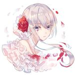 1girl angry blood bloody_tears blue_eyes choker closed_mouth flower hair_bun hair_ornament kina_(446964) looking_at_viewer petals rose rose_petals short_hair sidelocks simple_background sinoalice snow_white_(sinoalice) solo white_background white_flower white_hair