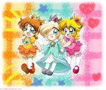 3girls baby baby_daisy baby_peach baby_rosalina blonde_hair blue_dress brown_hair duo mario_(series) mario_bros. nintendo orange_dress pink_dress