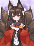 1girl aka_(ryueru_87) amagi-chan_(azur_lane) animal_ears azur_lane bangs black_hair blunt_bangs commentary_request eyebrows_visible_through_hair eyes_visible_through_hair fox_ears fox_girl fox_tail gradient gradient_background grey_eyes hair_ribbon kyuubi long_hair looking_at_viewer manjuu_(azur_lane) multiple_tails ribbon rope shimenawa sidelocks simple_background sleeves_past_wrists smile solo tail wide_sleeves