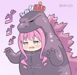 1girl bangs blush candy chibi commentary cosplay crown english_commentary eyebrows_visible_through_hair food godzilla godzilla_(cosplay) godzilla_(series) green_eyes heterochromia himemori_luna hololive kukie-nyan open_hands open_mouth pink_hair purple_background sidelocks solo v-shaped_eyebrows violet_eyes virtual_youtuber