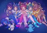 5girls ;d ^_^ ^o^ absurdres ahoge amamiya_erena animal_ear_fluff animal_ears antennae aqua_choker aqua_eyes aqua_footwear aqua_hair aqua_legwear bangs bare_shoulders bell black_choker blonde_hair blue_background blue_eyes blue_gloves blue_hair blue_legwear blunt_bangs blush boots braid cat_ears cat_girl cat_tail choker closed_eyes closed_mouth collar collarbone commentary creature crescent crescent_hair_ornament cure_cosmo cure_milky cure_selene cure_soleil cure_star dark_skin dark_skinned_female detached_collar dress earrings elbow_gloves eyebrows_visible_through_hair facing_viewer forehead fur-trimmed_footwear fur-trimmed_gloves fur_cuffs fur_trim fuwa_(precure) gloves gradient gradient_legwear grin hagoromo_lala hair_ornament hair_pulled_back hairband halterneck happy headpiece heart heart_in_mouth heart_print high_heels highres hoop_earrings hoshina_hikaru jewelry kaguya_madoka knee_boots knee_up knees_together_feet_apart knees_up locked_arms long_hair looking_at_another looking_at_viewer low_twintails lower_teeth magical_girl maid_headdress multicolored multicolored_clothes multicolored_hair multicolored_legwear multicolored_skirt multiple_girls neck_bell off-shoulder_dress off_shoulder one_eye_closed open_mouth orange_dress pink_choker pink_dress pink_footwear pink_hair planet_hair_ornament pouch precure prunce_(precure) puffy_pants puffy_short_sleeves puffy_sleeves purple_choker purple_collar purple_dress purple_hairband rainbow_skirt round_teeth see-through_sleeves short_sleeves side-by-side sideways_glance simple_background single_leg_pantyhose single_thighhigh sitting skirt sleeveless sleeveless_dress smile sparkle star-shaped_pupils star_(symbol) star_choker star_earrings star_hair_ornament star_in_eye star_print star_twinkle_precure streaked_hair symbol-shaped_pupils symbol_commentary symbol_in_eye tail teeth thigh-highs triangle_earrings twin_braids twintails upper_teeth v very_long_hair violet_eyes waving wavy_hair white_footwear white_sleeves wrist_cuffs yellow_dress yellow_eyes yellow_hairband yuni_(precure) zuzuko