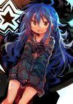 1girl :3 absurdres ahoge blue_hair highres izumi_konata kaamin_(mariarose753) knees long_hair lucky_star open_mouth smile solo very_long_hair yellow_eyes