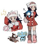 1girl bag beanie black_hair boots closed_mouth coat commentary_request creature crossed_arms dawn_(pokemon) duffel_bag eyelashes gen_4_pokemon grey_eyes hair_ornament hairclip hat highres holding holding_pokemon long_hair long_sleeves looking_at_viewer looking_to_the_side multiple_views open_mouth over-kneehighs pink_footwear piplup pokemon pokemon_(creature) pokemon_(game) pokemon_dppt pokemon_platinum red_coat scarf shichibee_(stm_mimi) shinx simple_background sleeping smile standing starly starter_pokemon sweatdrop thigh-highs white_background white_bag white_headwear white_legwear white_scarf zzz