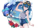 1girl ataruman beach blue_eyes blue_hair blue_sky blue_swimsuit clouds commentary_request day flower gen_7_pokemon goggles goggles_on_head hair_between_eyes hand_up highres lana_(pokemon) ocean one-piece_swimsuit pokemon pokemon_(creature) pokemon_(game) pokemon_sm popplio shirt simple_background sky swimsuit swimsuit_under_clothes thighs wet wet_clothes wet_shirt white_background white_shirt