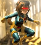 1girl animal_ears backlighting bangs blue_bodysuit blurry bodysuit boots braid breasts brown_hair clenched_hands cosplay cyclops_(x-men) cyclops_(x-men)_(cosplay) dog_ears dog_girl dog_tail expressionless feet_out_of_frame fighting_stance gloves glowing hat hololive infi inugami_korone marvel medium_breasts side_braids solo tail thigh_strap thighs twin_braids virtual_youtuber visor x-men yellow_footwear yellow_gloves