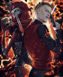 2boys absurdres apex_legends back-to-back black_shirt blonde_hair blue_eyes collared_shirt dual_persona from_side gun handgun highres holding holding_gun holding_skull holding_weapon humanoid_robot kaleb_cross looking_at_viewer male_focus multiple_boys narukamiarei p2020_(pistol) pistol piston red_bandana red_vest revenant_(apex_legends) science_fiction shirt simulacrum_(titanfall) skull undercut vest weapon yellow_eyes