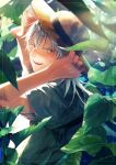 1boy blush hat highres japanese_clothes leaf looking_back male_focus noes open_mouth sleeves_pushed_up smile straw_hat sweat touken_ranbu tsurumaru_kuninaga white_hair yellow_eyes