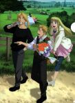1girl 2boys alphonse_elric artist_request bangs basket beige_hoodie black_footwear black_pants black_shirt blonde_hair blouse blue_eyes blue_sky bouquet brown_vest bush carrying_over_shoulder clenched_teeth cloth collarbone collared_shirt day denim dress_shirt ear_piercing earrings edward_elric facing_viewer feet_up fence fingernails floating_hair flower from_above from_side full_body fullmetal_alchemist grass grin hand_in_pocket highres holding holding_basket holding_bouquet hood hood_down hoodie horizon index_finger_raised jeans jewelry leaf long_hair looking_afar looking_at_another looking_back mountain mountainous_horizon multiple_boys nature official_art open_mouth orange_flower outdoors outstretched_hand pants path piercing pink_blouse pointing profile purple_flower rose running sandals shadow shiny shiny_hair shirt shoes sky sleeves_rolled_up smile standing standing_on_one_leg swept_bangs tareme teeth toenails tombstone tree v_arms vest walking white_flower white_footwear white_rose white_shirt winry_rockbell wooden_fence yellow_eyes