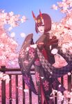 1girl absurdres bangs black_kimono bob_cut breasts cherry_blossoms eyeliner fate/grand_order fate_(series) floral_print headpiece highres horn_ornament horn_ring horns huge_filesize japanese_clothes kimono long_sleeves looking_at_viewer lostroom_outfit_(fate) makeup obi oni oni_horns open_mouth purple_hair sash sawarineko short_hair shuten_douji_(fate) skin-covered_horns small_breasts smile tree violet_eyes wide_sleeves