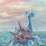 afloat blue_eyes closed_mouth clouds commentary_request day gen_1_pokemon highres horns lapras masshu_(shu_123426) no_humans outdoors pokemon pokemon_(creature) single_horn sky smile water