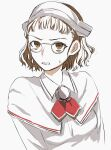 1girl bangs blunt_bangs brown_eyes brown_hair clenched_teeth commentary_request hagioshi highres kantai_collection looking_at_viewer pince-nez roma_(kancolle) shirt short_hair simple_background solo teeth upper_body wavy_hair white_background white_shirt