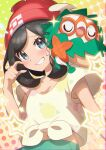 1girl absurdres bangs beanie blush brown_hair collarbone commentary_request cosplay decidueye decidueye_(cosplay) eyelashes floral_print gen_7_pokemon green_shorts grey_eyes hand_up hat highres medium_hair navel pokemon pokemon_(creature) pokemon_(game) pokemon_sm raised_eyebrows red_headwear rowlet selene_(pokemon) shirt short_sleeves shorts smile sparkle star_(symbol) starter_pokemon t-shirt taisa_(lovemokunae) tied_shirt yellow_shirt